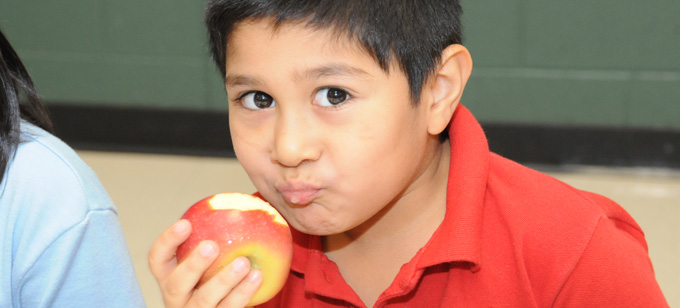 Holdeman Boy Eating an Apple