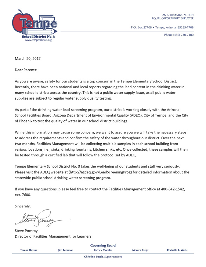 Letter to Parents from Steve Pomroy about testing for lead in water in our District on District letterhead