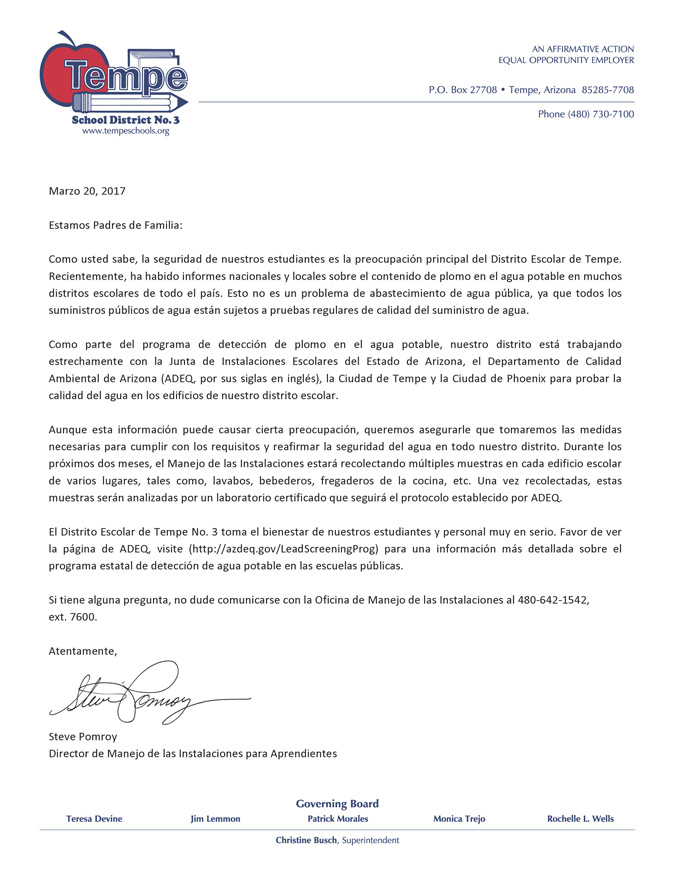 Letter to Parents from Steve Pomroy about testing for lead in water in our District on District letterhead - in Spanish