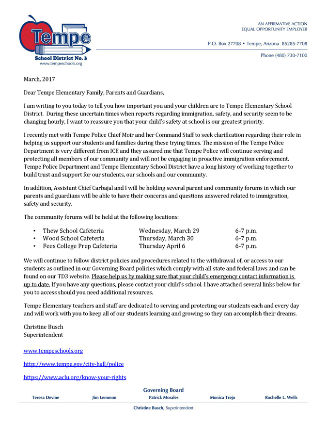 Letter to Parents from Superintendent Christine Busch about community forums to address concerns about immigration, safety and security on District letterhead