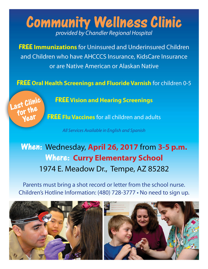 Community Wellness Clinic Flyer announcing Free Immunizations and Dental Clinic at Curry Elementary on April 26