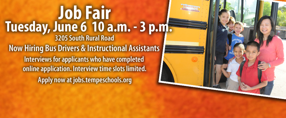 Job Fair info Bus Drivers and Instructional Assistants June 6, 2017 image of bus driver with kids and school bus