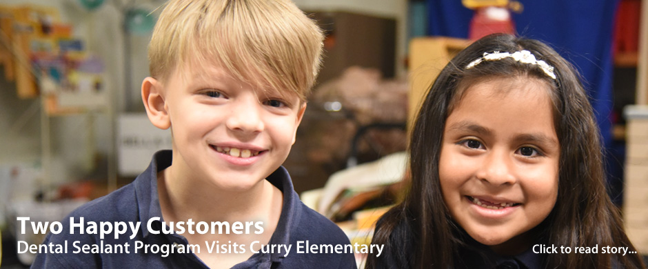 Boy and Girl Smiling - Two Happy Customers after visit from Dental Sealant Program at Curry