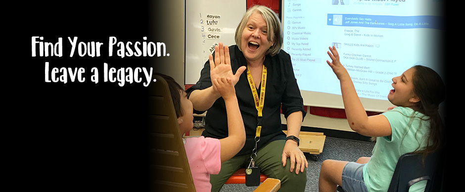 Find Your Passion - Leave a Legacy Teacher High Fives two students