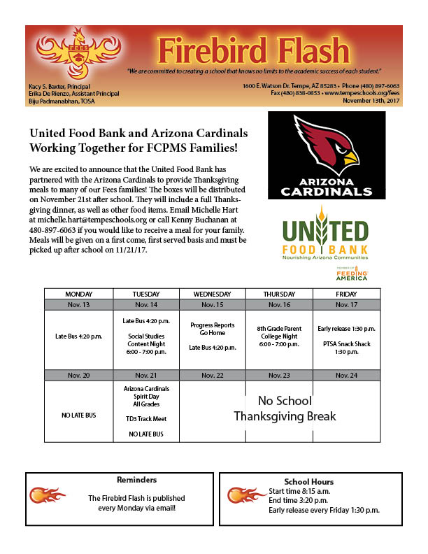 Parent newsletter 11132017