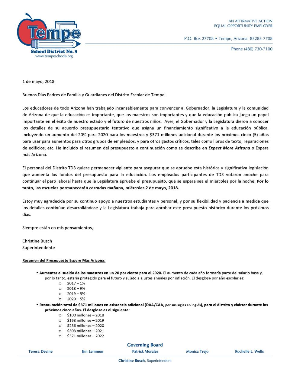 Parent Letter_Walkout_NoSchool_May2_2018_Spanish