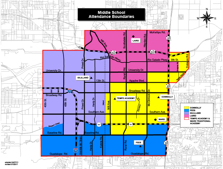 District Map - Color - Middle School Boundaries