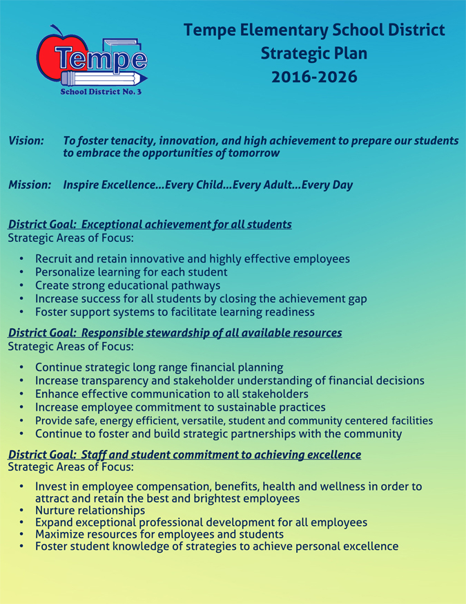 Tempe Elementary_Strategic Plan_One Page