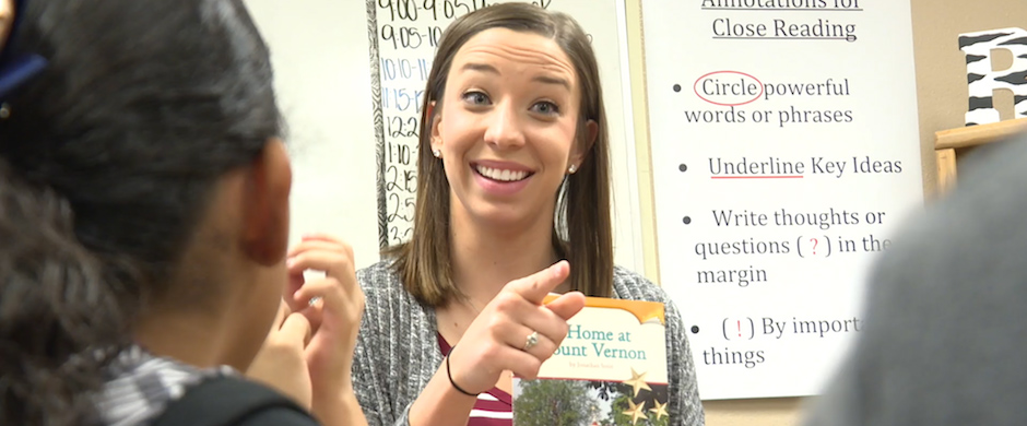 Female Teacher Smiling and Pointing at Student introducing 30-second Relationships Matter video