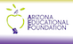 Arizona Education Foundation logo with a green apple and green and purple colors