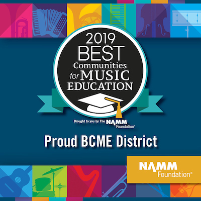 Best Communities for Music Education Award - Proud to be a BCME District. NAMM Foundation Multi colored graphic with music instruments