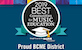 Best community for music education award Proud BCME district logo on navy blue background