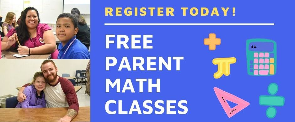 Two photos of parents with their student smiling. FREE PARENT MATH CLASSES with REGISTER TODAY! Math clip art - orange plus sign, yellow pi sign, pink triangle, green division sign, and green and purple calculator