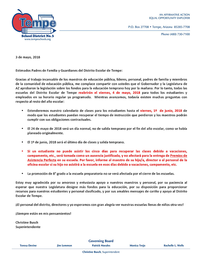 Parent Letter_Walkout_School Resumes_May 4, 2018_Spanish