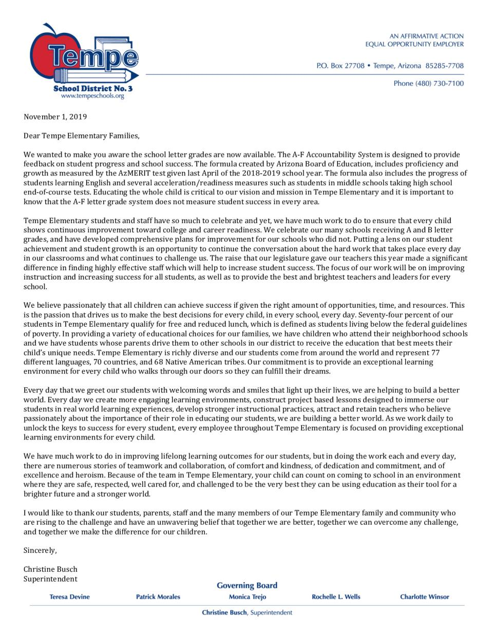 Letter from Superintendent about School Letter Grades -2018-2019 - English