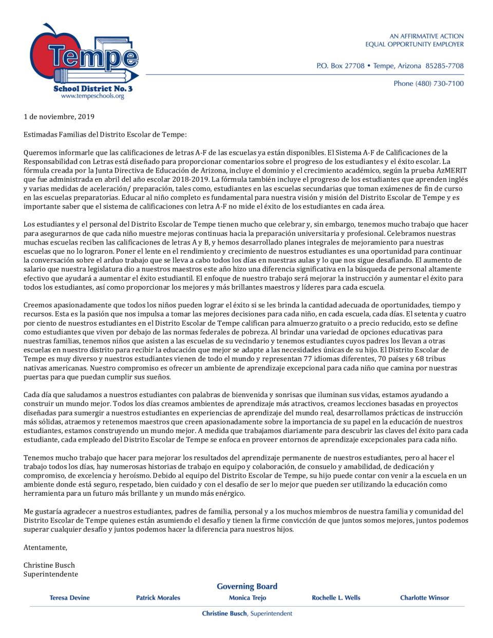 Letter from Superintendent about School Letter Grades -2018-2019 - Spanish